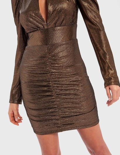 Metallic Gold Long Sleeve Ruched Bodycon Dress with Keyhole Cut-Out
