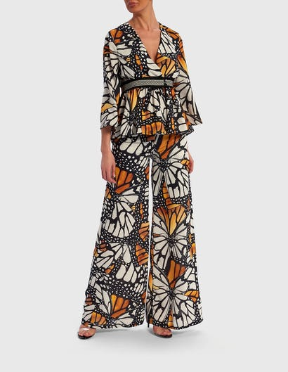 Black and Yellow Butterfly Print Blouse with Geometric Waist
