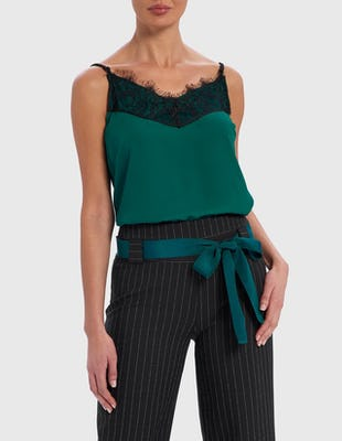 Green and Black Eyelash Lace Camisole Top
