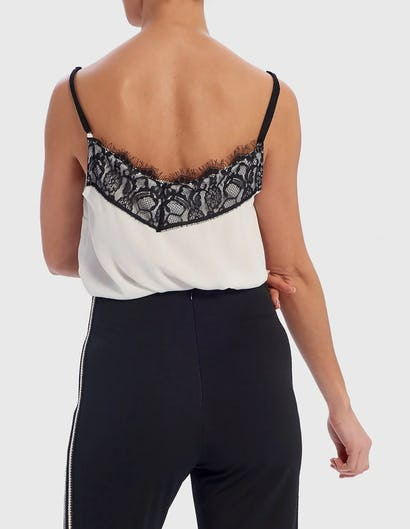 White and Black Eyelash Lace Camisole Top