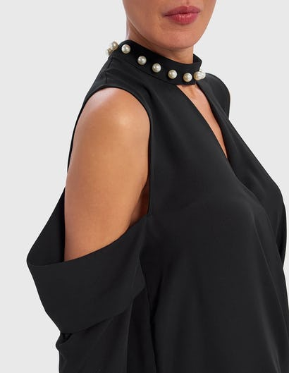 Black Cold-Shoulder Blouse with Pearl Choker Neckline