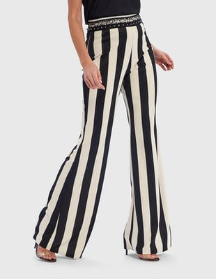 White and Black Striped Wide Leg Trousers with Embellished Waistband