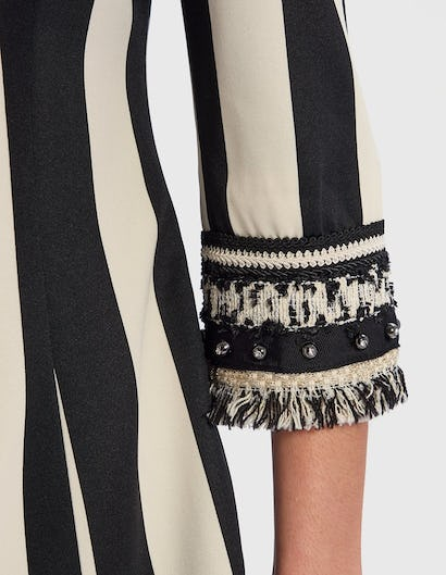 White and Black Striped Suit Jacket with Embellished Cuffs