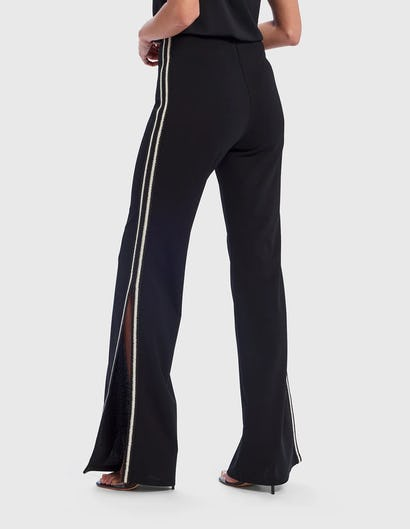 Black and White Tailored Trousers with Side Split