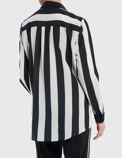 Black and White Striped Blouse with Asymmetric Hem