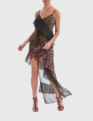 Leopard Print and Floral Contrast Asymmetric Maxi Dress