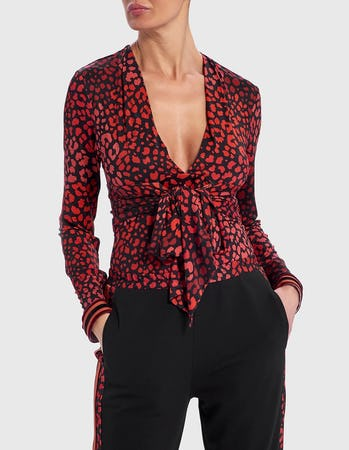 Red and Black Leopard Print Long Sleeve Top with Tie Front