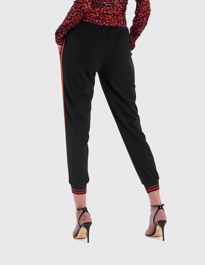 Black and Red Leopard Print Sports Luxe Trousers
