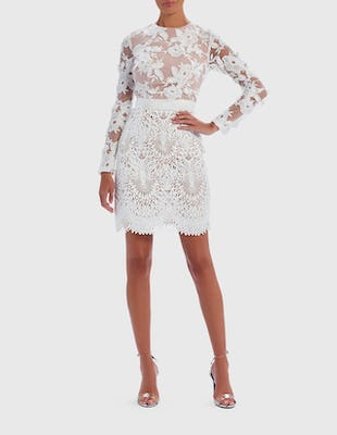 White Lace Long Sleeved Mini Dress
