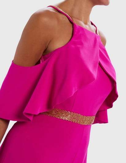 COLETTE - Fuchsia Pink Ruffle Jumpsuit