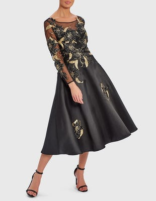 SCARLETT - Black and Gold Embroidered Skater Midi Dress