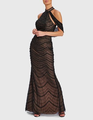 SOUL - Black Glamorous Gown with Beaded Embellishment