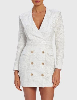 BLAKE - White Lace Blazer Dress