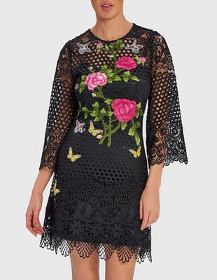 ELISE - Black Lace Mini Dress with Floral Embroidery Detail