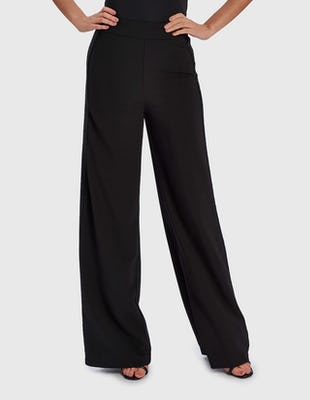 TOYA - Black Flared Trousers with Side Stripe Embellishment