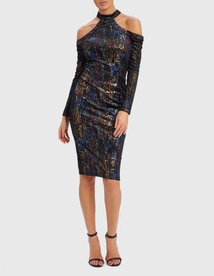 PAULETTE - Snake Print Black Bodycon Midi Dress