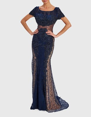 DION - Navy Blue Embellished Maxi Dress