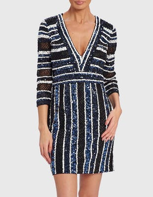 ADRIAN - Blue Black and White Striped Embellished Dress