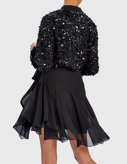 LUX - Black Embellished Chiffon Dress