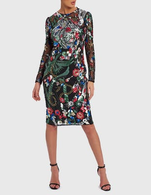 ELOISE - Black Dress with Multi-Colour Embellishment Detail