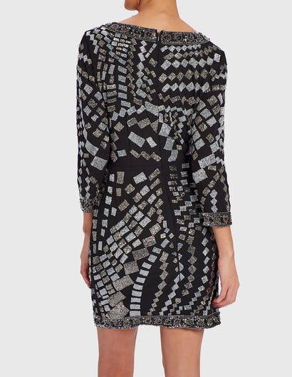 SELENA - Black and Silver Beaded Wrap Dress