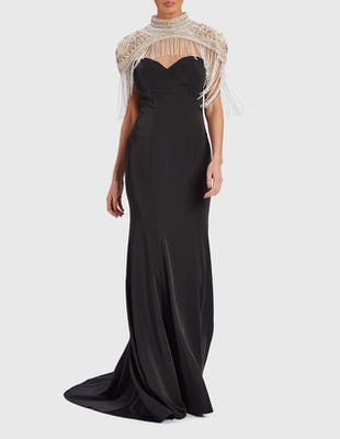 EMBER - Black and Silver Beaded Sweetheart Neckline Maxi Dress