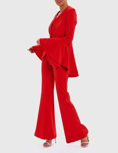 AURORA - Red Tailored Jacket with Flute Sleeves