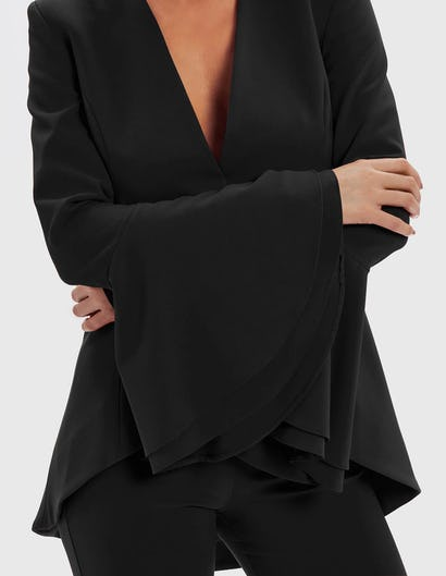 AURORA - Black Tailored Jacket with Flute Sleeves