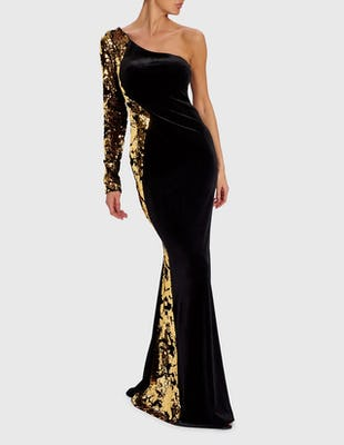 ELITA - Black and Gold Velvet Sequin Maxi Gown