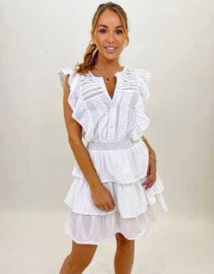 White Cotton Mini Dress